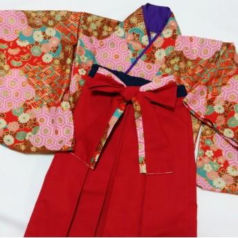 古典柄レッド×レッド 着物風×袴風スカート