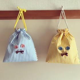 ねずみくんの小さな保冷巾着☆ストライプ☆お菓子入れ