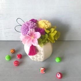 和風ピンクアレンジ Line (リヌ)ピンクピンクピンクフラワーギフト母の日プレゼント 結婚祝い 開店祝い 開院祝い 還暦祝い プリザーブドフラワー 花