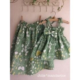【受注生産】親子でお揃いコーデ♪ママ用ギャザースカートとお子様用4wayワンピース&スカートのセット(グリーン&イエロー)