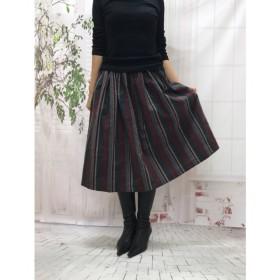 *エレガスリーク*播州織ウール混 大人レッドストライプスカート受注生産By Aki 1000-1