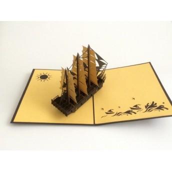 手作り切り紙ポップアップカード 金帆前船