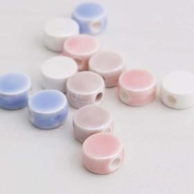 陶器ビーズ 平丸4色アソート 12個 pt-347 2000円以上で送料無料!