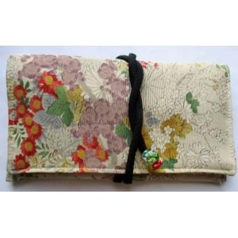 送料無料 花柄の着物で作った和風財布・ポーチ 3917