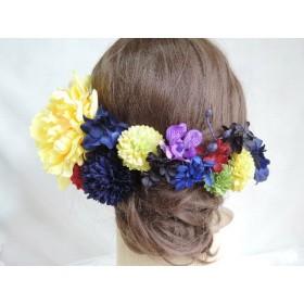 黄色い芍薬に濃紺が粋な髪飾り