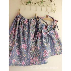 親子でお揃いコーデ♪ママ用ギャザースカートとお子様用ワンピース&スカートセット(カトレアシャンティブルー)