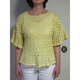 【春物半額セール】ひよこ色が可愛い ドルマン袖の五分袖セーター
