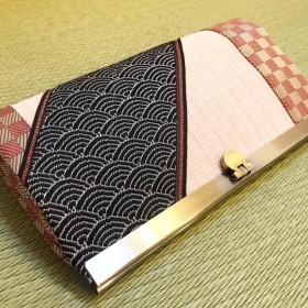 和風 畳がま口長財布 ピンク市松×青海波 財布