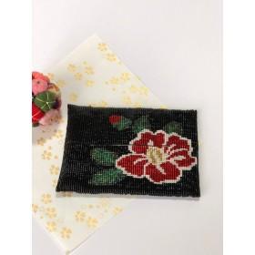 ビーズ織りのティッシュケース 椿 黒