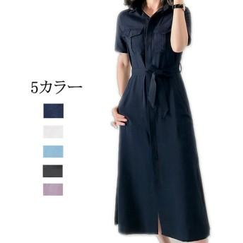 【受注製作】5カラー・S-L・リネン・タックロングワンピース