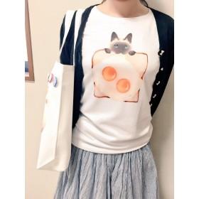エッグトーストとシャム猫のシャツ