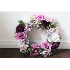 バラ・ラナンキュラスのフラワーリース(ピンク・パープル・グリーン)