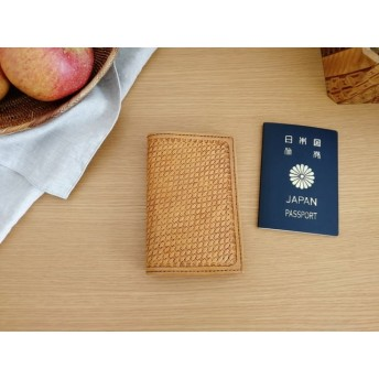レザーのパスポートケース 〜バスケット風〜