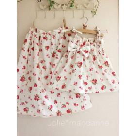 【受注生産】親子でお揃いコーデ♪ママ用ギャザースカートとお子様用4wayワンピース&スカートセット(ローズガーデンホワイト