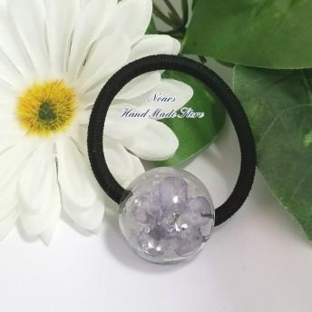 Flowerオルゴナイト&天然石水晶 レジンラウンドのヘアゴム