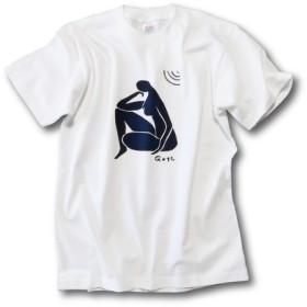 型染め Tシャツ 「人 もの憂い」 白色 受注製作 XS~XL 5サイズ