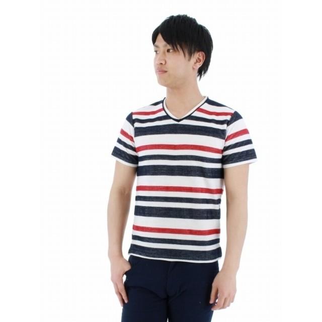 [マルイ]【セール】ヘリンボーンジャガードボーダーVネック半袖Tシャツ/タカキュー(TAKA-Q)