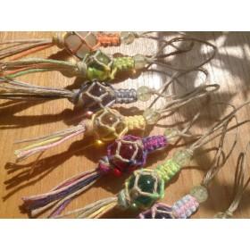 沖縄は石垣島から『くくるだまストラップ・ヘンプ編み』 送料込み♪ たま色=ピンク