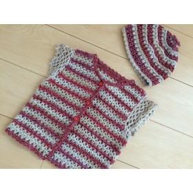 ベビー ほっこり手編みのベスト&どんぐり帽