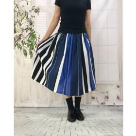 大人可愛い*国産 尾州 ブルー&すっきりカラーストライプ スカート 受注生産