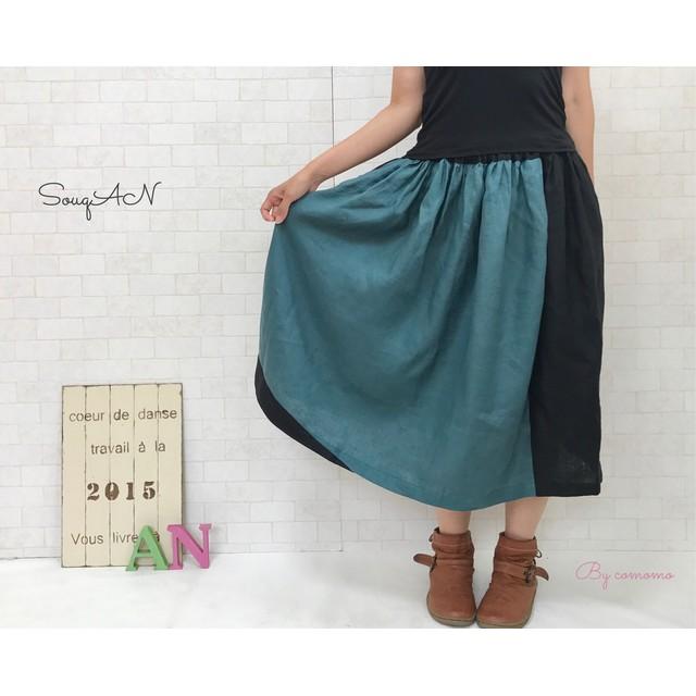 麻 deナチュラル*リネン100% グリーン&ブラックのポケット付きスカート