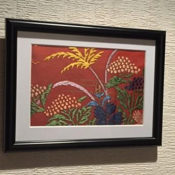 【壁掛け・置き型アートフレーム1点物】和柄・京西陣織布地『秋草模様』。正絹100%・草木染め能衣装