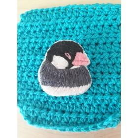 眠い桜文鳥刺繍ブローチ