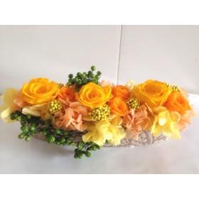 華やかなバラがいっぱい詰まったアレンジ Abel(アベル) イエローオレンジ母の日プレゼント 結婚祝い 開店祝い 開院祝い 還暦祝い
