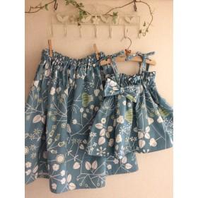 親子でお揃いコーデ♪ママ用ギャザースカートとお子様用4wayワンピース&スカートのセット(ブルー)