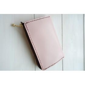 ★淡いピンクの本革 シンプルなコインケース
