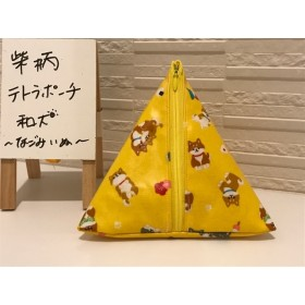 柴犬柄テトラポーチ(ラミネート加工生地)・イエロー