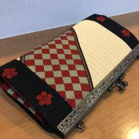 【再販可】和風 畳がま口長財布 赤市松×黒梅 財布