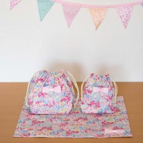 【3点セットでお得】ずっと使えるピンク花柄 お弁当袋&コップ袋&ランチョンマット