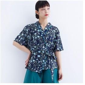 [マルイ] ボタニカルフラワー柄ラップシャツ2806/メルロー(merlot)