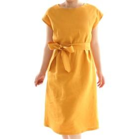 【wafu】中厚 リネン ワンピース フレンチスリーブ ビックT ドレス ベルト付き / インディアンイエロー a041b-iye2