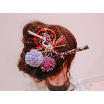 29★獅子舞 かんざし お花コーム お祭り髪飾り 成人式髪飾り ウエディング ヘッドドレス 水引髪飾り