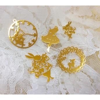 再販×4 アリスのウサギ他 銅製メタルパーツ5種セット レジン土台&封入可能