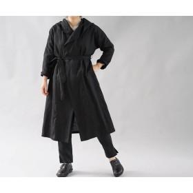 【wafu】中厚 リトアニアリネン コート 羽織 ローブ ロング丈 フード ユニセックス UV対策にも/ブラック h009a-bck2