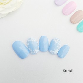 5色から選べる ホワイトフラワーシルエットネイル