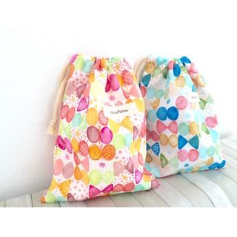 【ラスト1点】受注生産2枚セット巾着袋給食袋水彩ちょうちょコップ袋