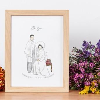 ご両親へのプレゼント♪両親の似顔絵ボード │銀婚式 結婚記念日 両親贈呈品