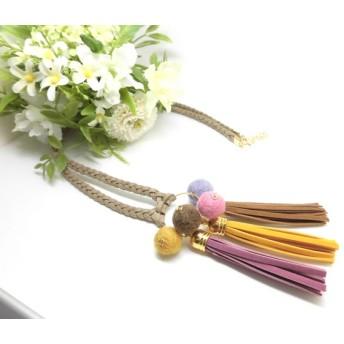 ・HNTK・・・3色フリンジネックレス 黄・紫・茶 N0343