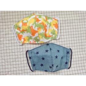 【子供用】ガーゼ立体マスク 2枚セット 迷彩恐竜&スター