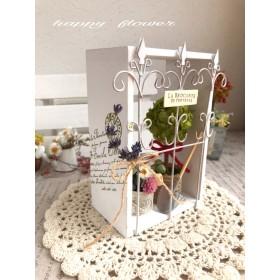 白いアンティーク小箱【ミニトピアリー&お花のバケツ】