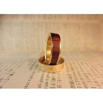木と真鍮の指輪 ブビンガ 象嵌リング