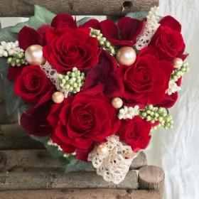 プリザーブドフラワー*ハートの花束*赤い薔薇*母の日
