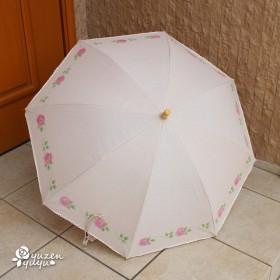 ミニバラの手描きピンク日傘