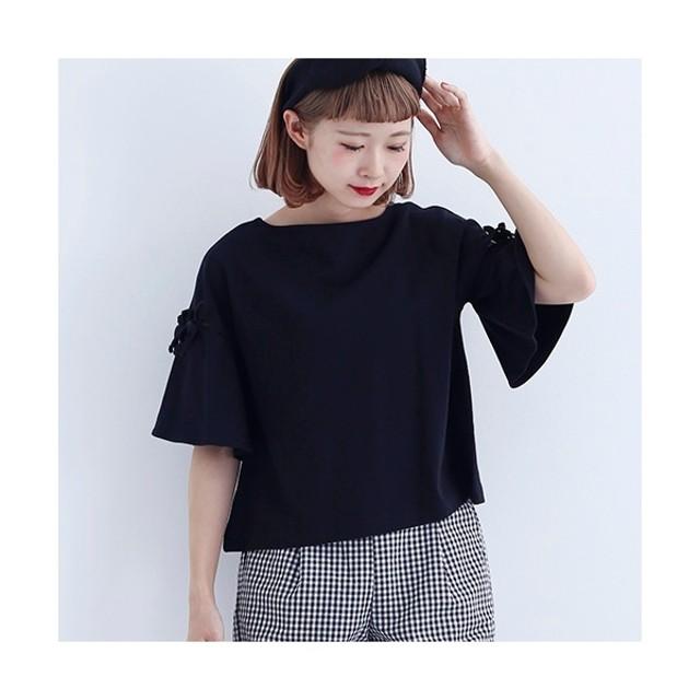 [マルイ] スリットリボンフレアTシャツ1486/メルロー(merlot)