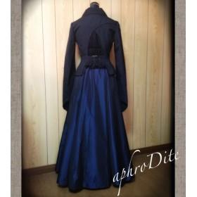 タフタのフレアギャザースカート(青・ロング)