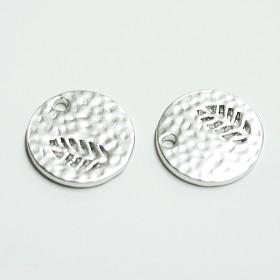 新作【2個入り】凹凸あるコインモチーフに刻まれたリーフ!マッドシルバーチャーム、パーツ